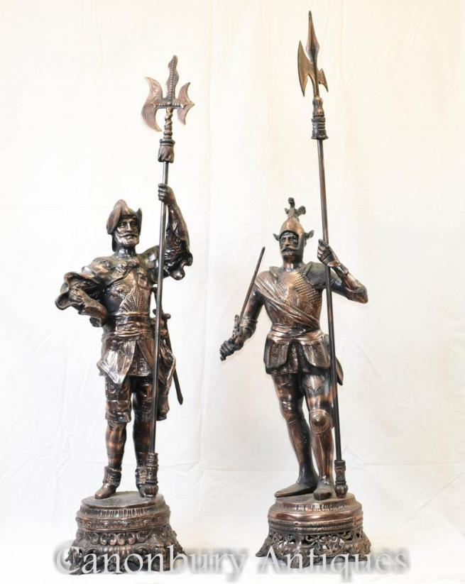 Pair Metal Spelter English Knight Statues Castle Chic Soldiers