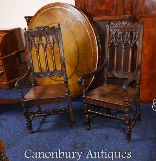 Pair Oak Gothic Arm Chairs Farmhouse Furniture