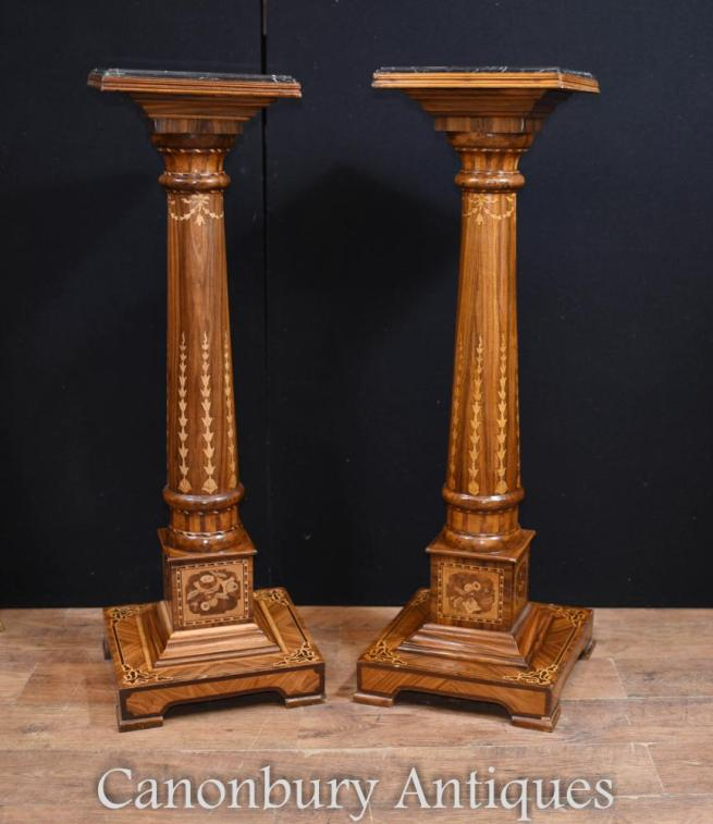 Pair Regency Pedestal Stand Columns Marquetry Inlay