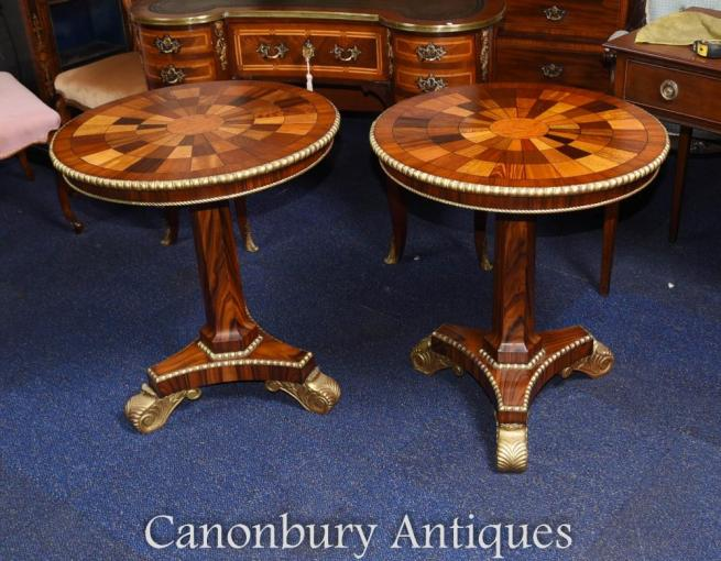 Pair Russian Side Tables Marquetry Inlay