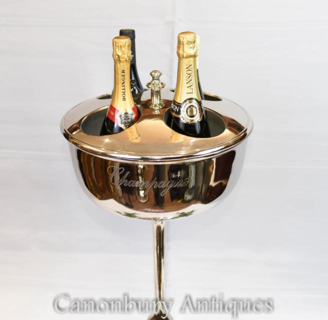 Pair Silver Plate Champagne Stands Ice Bucket Cooler Restaurant Wine