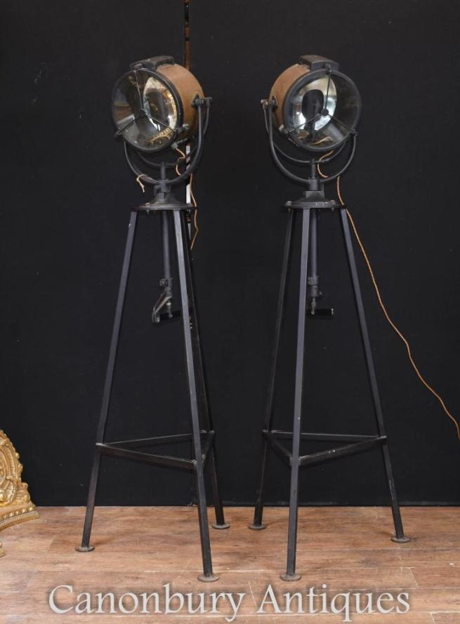 Pair World War II Ship Search Lights Floor Lamp Architectural Salvage