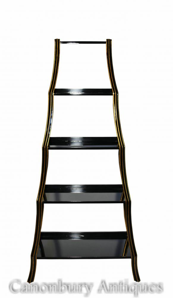 Regency Black Lacquer Etagere Bookcase Shelf Unit