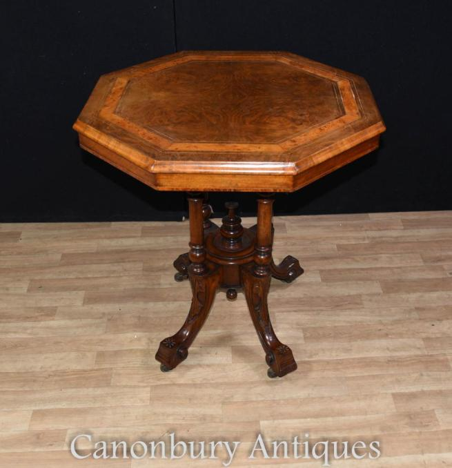 Regency Octagonal Side Table Walnut Tables
