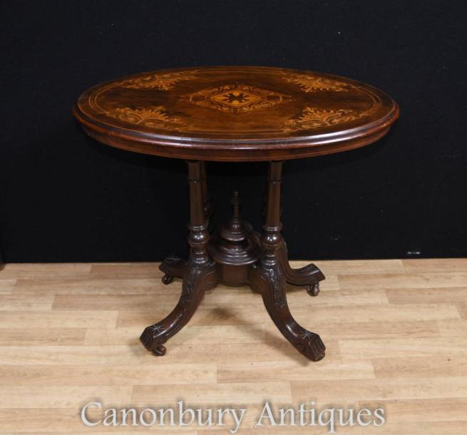 Regency Oval Side Table Walnut Marquetry Inlay