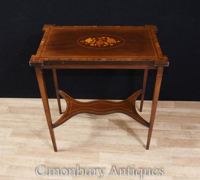 Regency Sheraton Side Table Marquetry Inlay