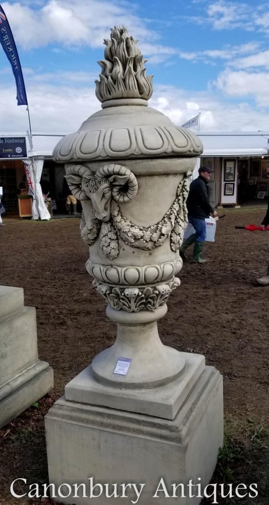 Stone Stratton Urn on Milton Plinth Garden Statue