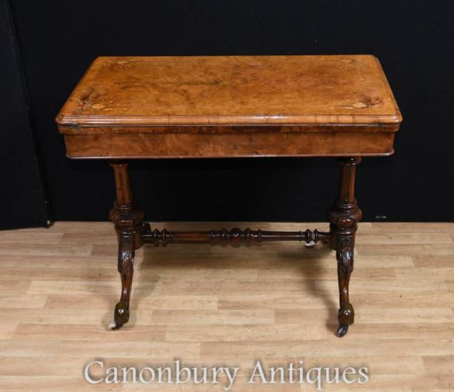 Victorian Burr Walnut Card Games Table Side