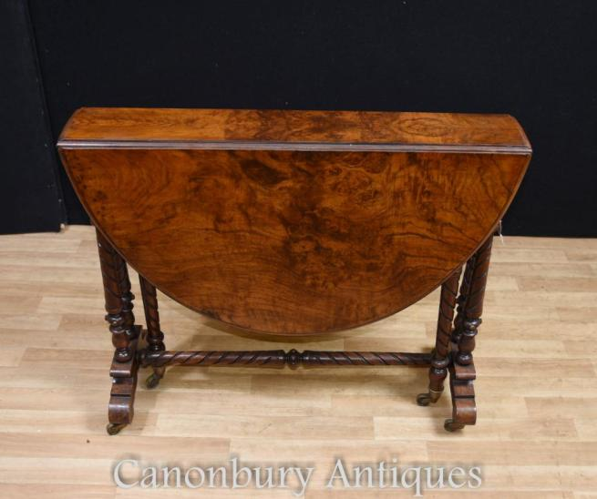 Victorian Burr Walnut Drop Leaf Side Table