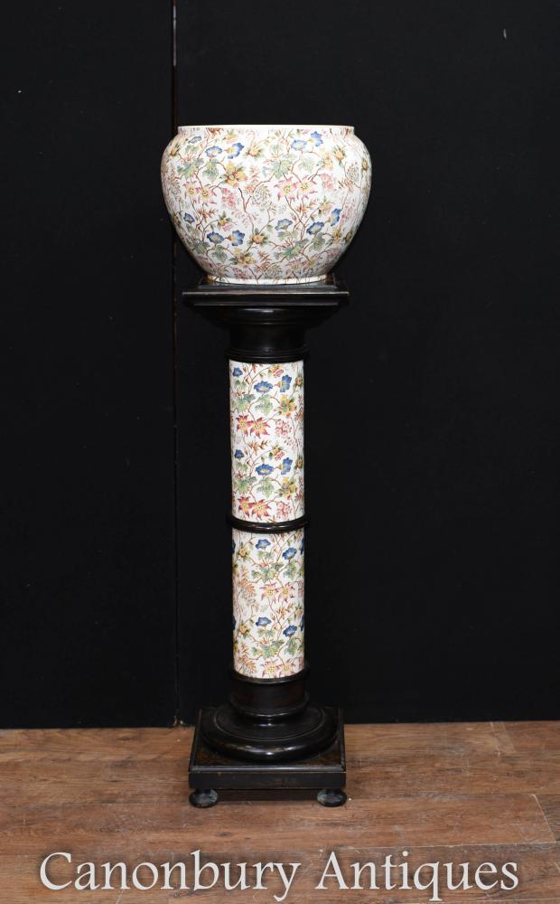 Victorian Floral Porcelain Planter on Column Pedestal Stand