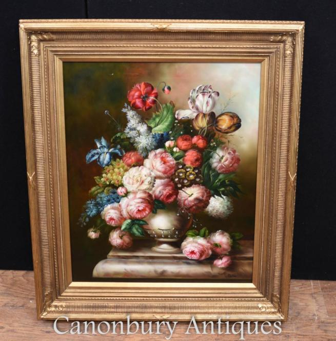 Victorian Floral Spray Still Life Oil Painting Gilt Frame
