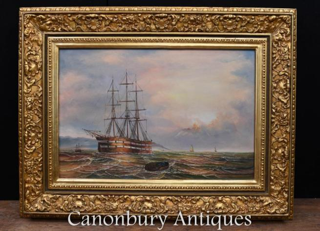 Victorian Oil Painting Maritime Sea Scape Signed James Webb