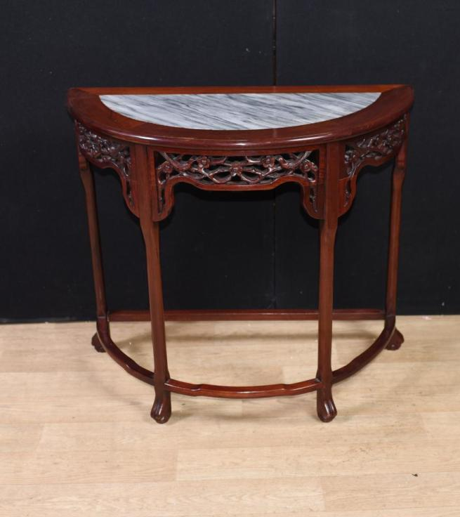 Antique Chinese Hardwood Carved Demi Lune Console Table