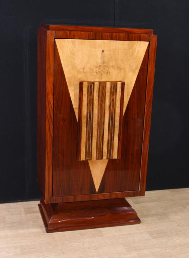 Art Deco Walnut Drinks Cabinet Cocktail Chest