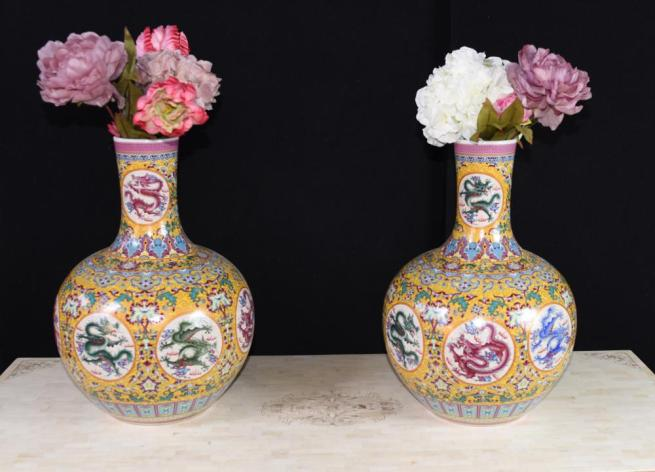 Pair Chinese Ming Dragon Vases Urns Famille Rose Shangping Form