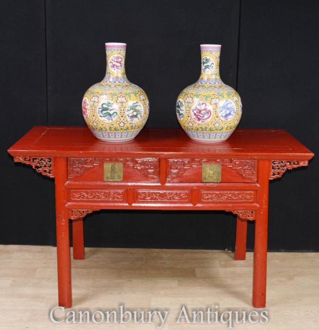 Antique Chinese Red Lacquer Cinnabar Temple Table Altar