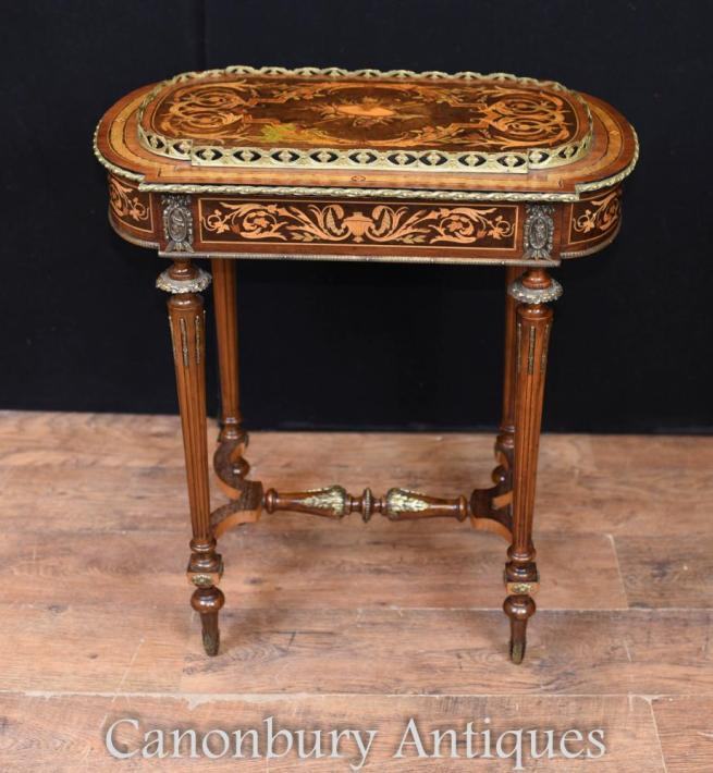 Antique French Side Table Planter - Louis XVI Inlay Circa 1880