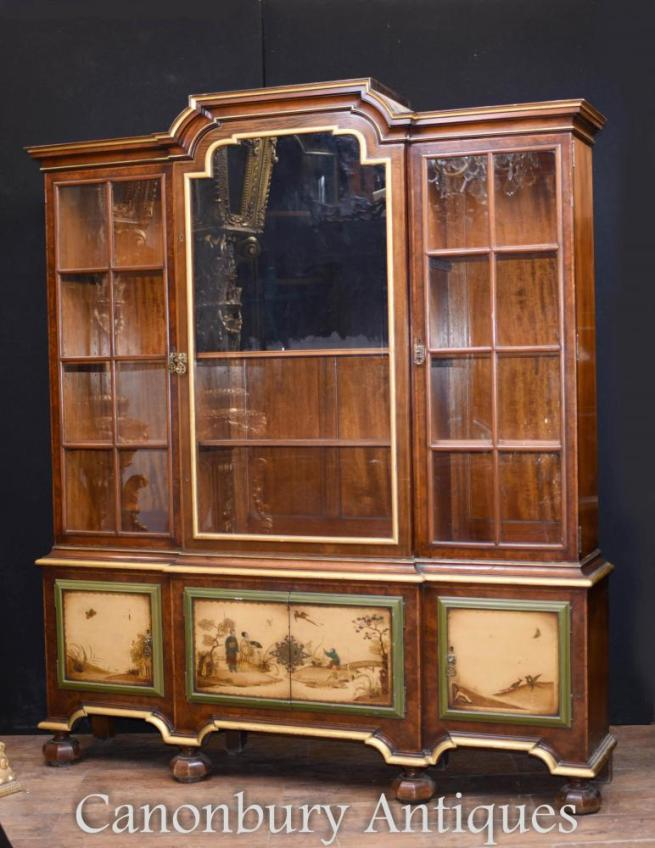 Antique Gillows Painted Display Cabinet Bookcase Circa 1890