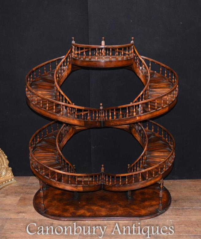 Architectural Mahogany Mini Double Spiral Staircase Model