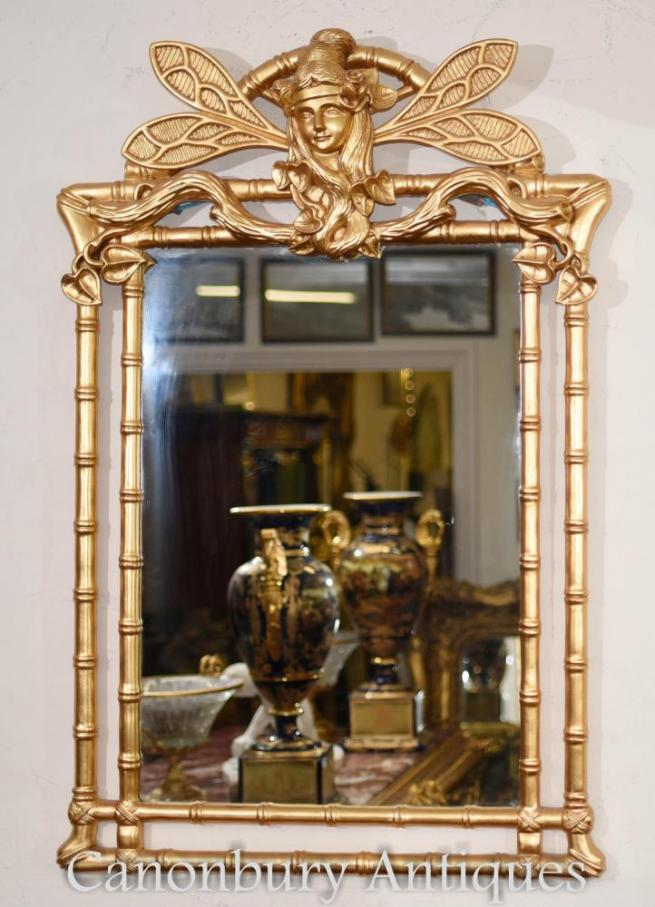 Art Nouveau Gilt Pier Mirror Dragonfly Glass