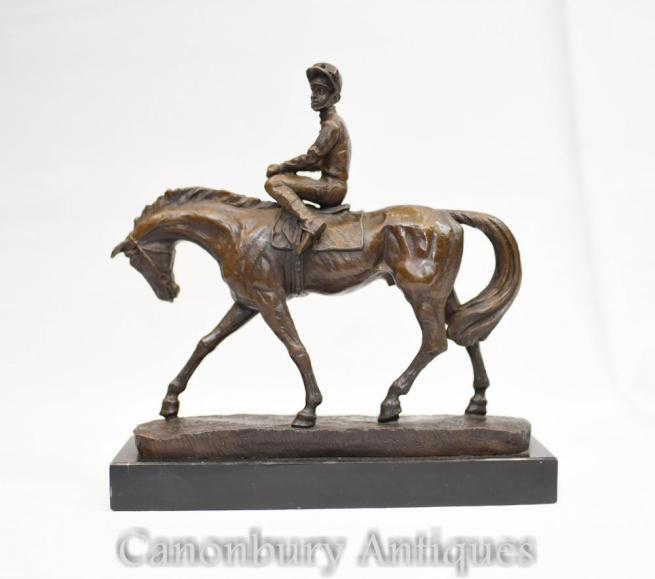 Bronze Horse and Jockey Statue - French Figurine