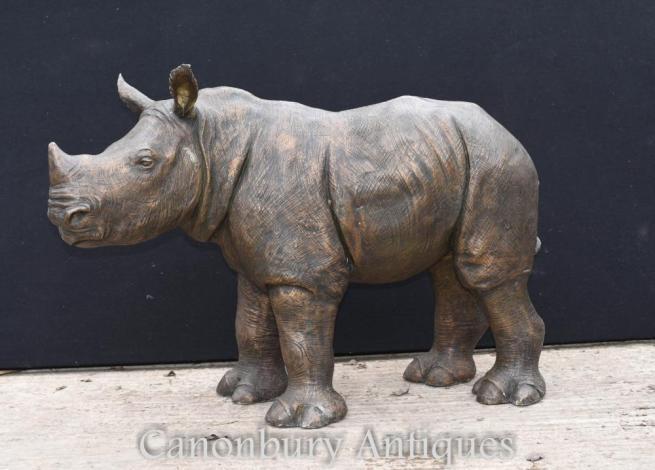 Bronze Rhino Statue African Rhinocerus Casting