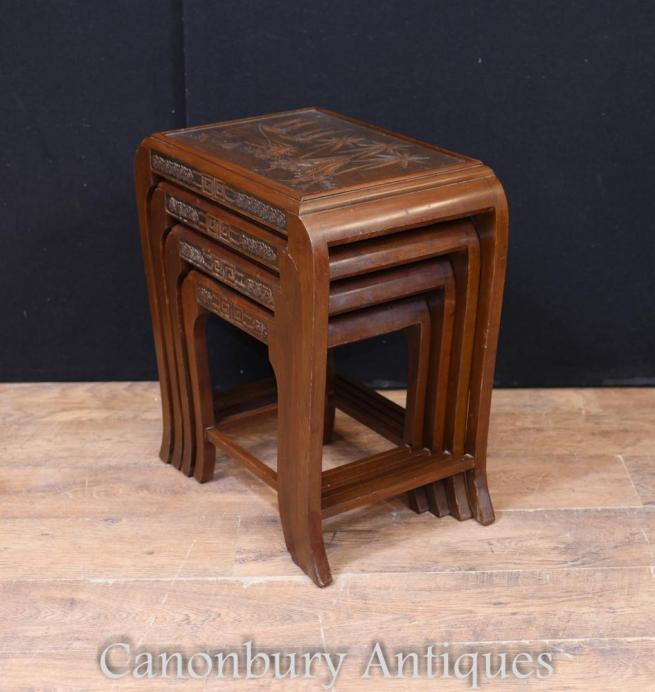 Chinese Antique Nest of Tables Side Table Hardwood Circa 1900