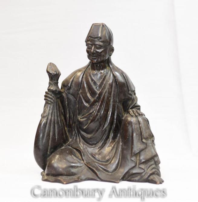 Chinese Bronze Buddha Wise Man Statue Buddhist Art