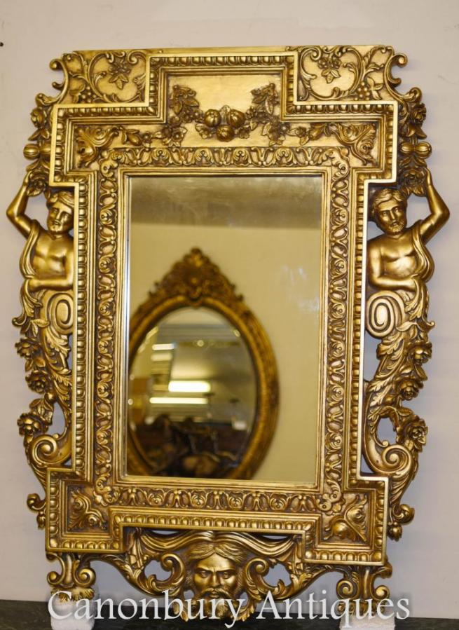 English Chippendale Gilt Pier Mirror Atlas Satyr