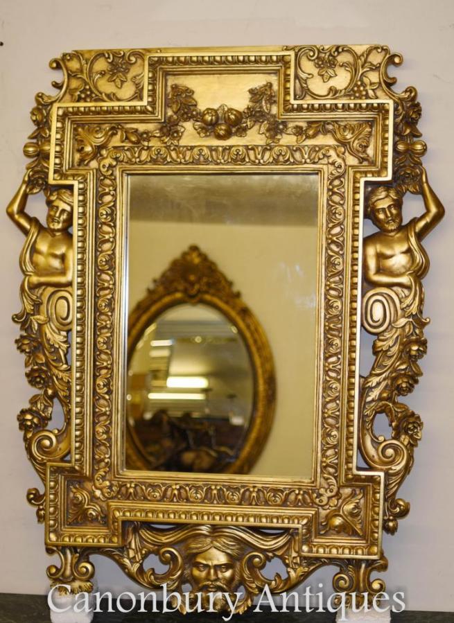 English Chippendale Gilt Pier Mirror Atlas Satyr