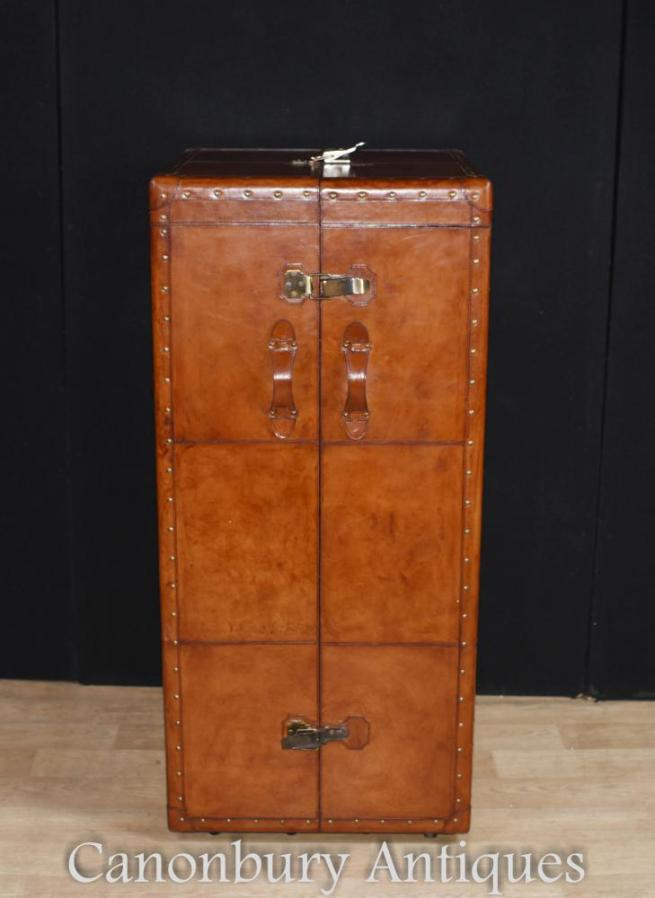 English Leather Campaign Chest of Drawers Dressing Cabinet