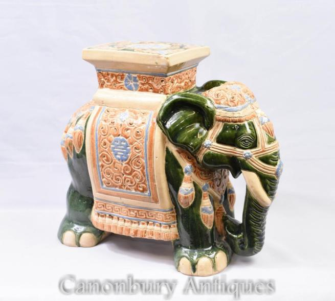 English Majolica Pottery Elephant Seat Raj
