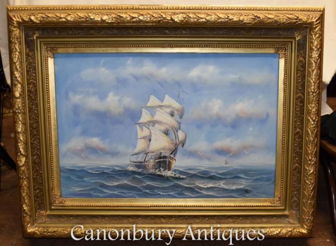 English Oil Painting Ship Sea Scape Maritime Art