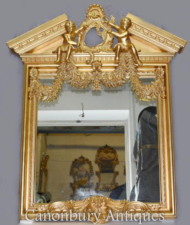 English Palladian Gilt Pier Mirror Cherubs Neo Classical