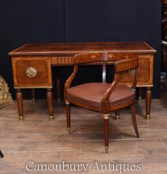 French Antique Arts and Craft Desk and Chair Set Bureau 1900