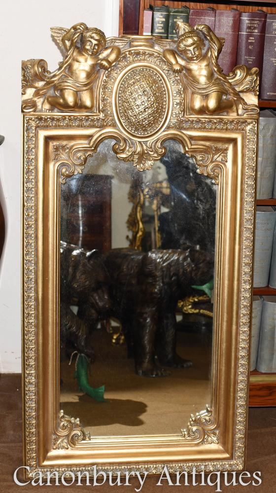 French Baroque Gilt Cherub Pier Mirror
