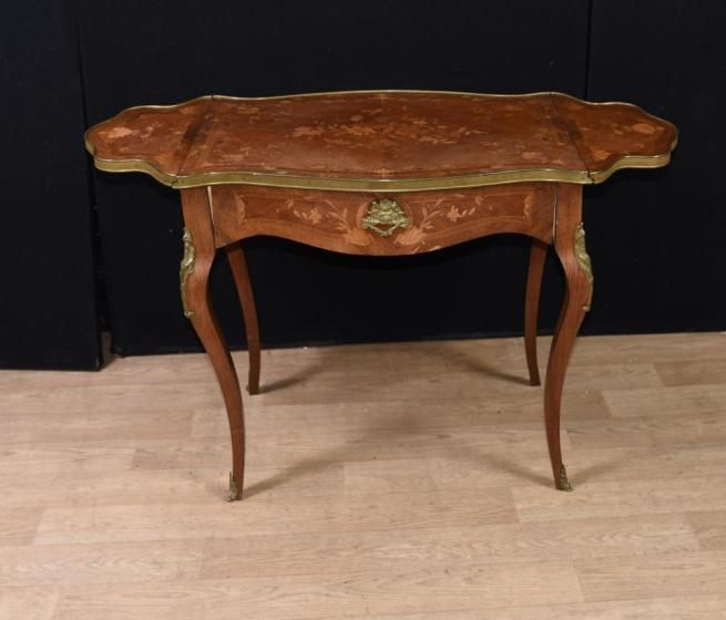 French Empire Extending Side Table Marquetry Inlay Drop Leaf 1880