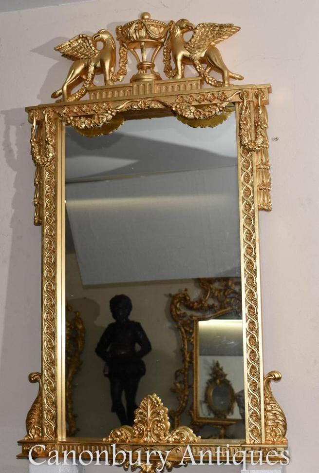 French Empire Gilt Pier Mirror Griffin Frame