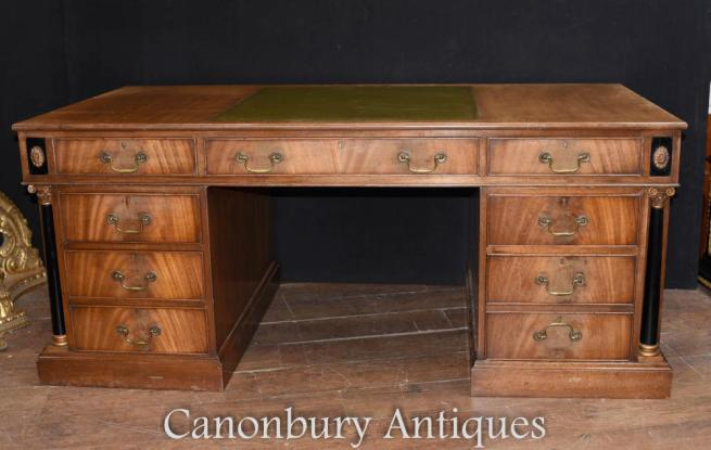 French Empire Walnut Partners Desk Bureau Circa 1910