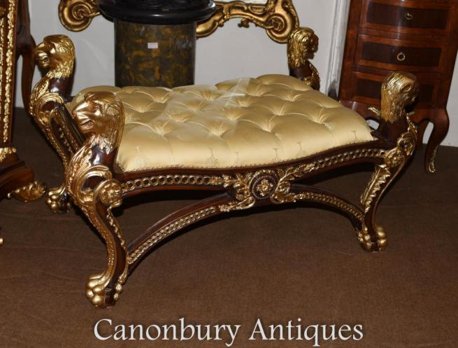 French Louis XVI Gilt Stool Seat