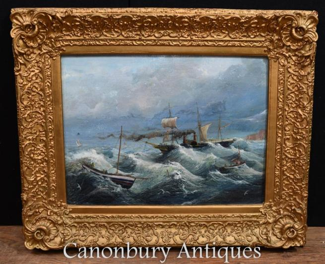 French Oil Painting Stormy Seas Maritime Seascape