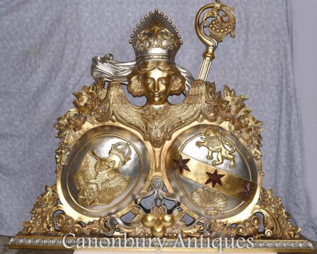 Gilt Hand Carved Russian Coat of Arms Sculpture Eagle