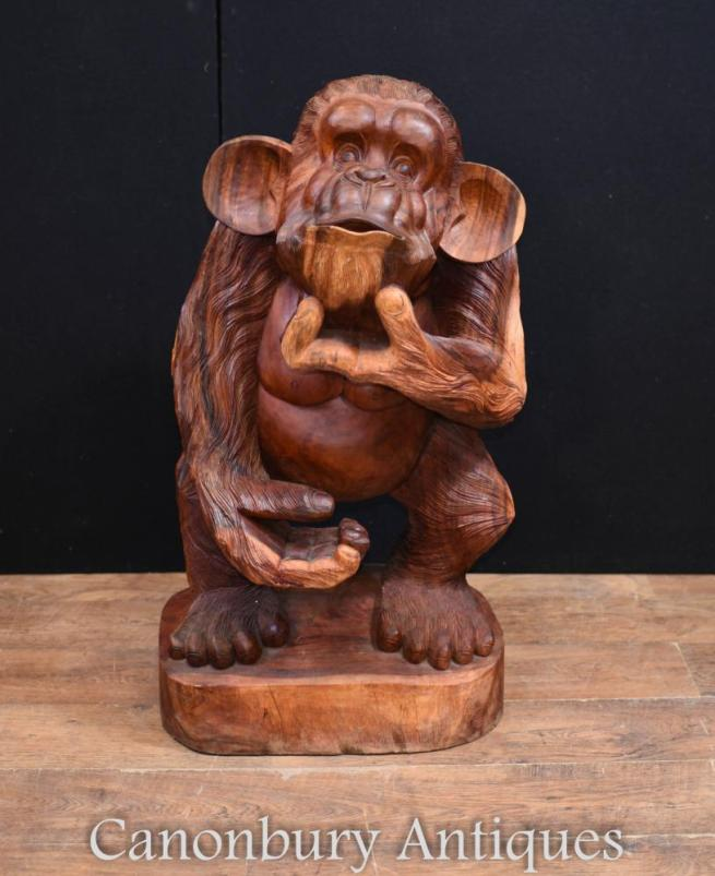 Hand Carved Cheeky Monkey Statue Black Forest Carving
