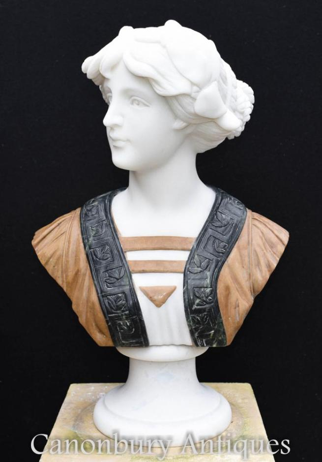 Hand Carved Victorian Marble Bust Lady Statue