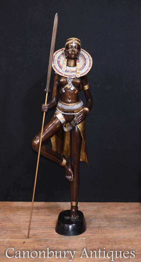 Large Bronze African Tribe Woman Statue Massai