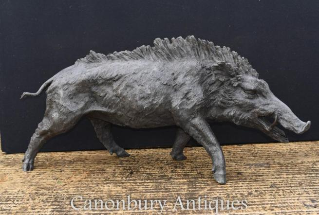 Large Broze Celtic Boar Statue Wild Boars Pig