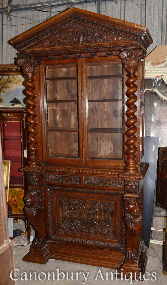 Large English Antique Carved Bookcase Cabinet Circa 1860