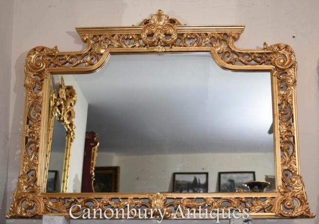 Large English Chippendale Gilt Mantle Mirror
