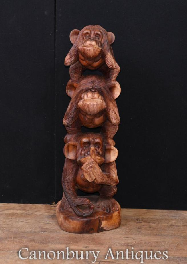 Large Monkey Carving See Hear Speak No Evil Chimp Ape