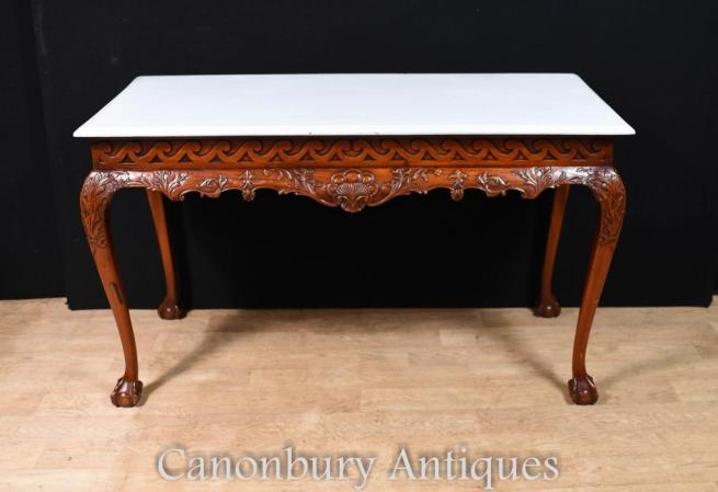 Mahogany Chippedale Console Table Ball and Claw Feet